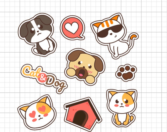 9 cat and dog fun stickers in standard, photo or vinyl print materials with laminate or magnet options available.  Premium full color.