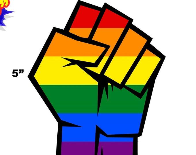 "1 - 4"" x 5"" - LGBTQ+ Gay Pride Resist Fist Vinyl Sticker Decal OR Magnet in Pride Colors"