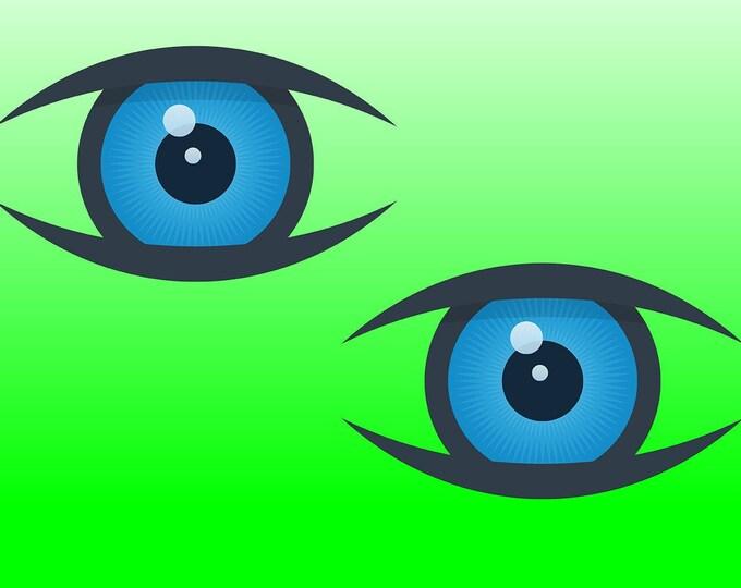 2X Eyeball Vinyl Sticker or Magnet, Vinyl Sticker, Laminate, UV Laminate and Magnet options various sizes