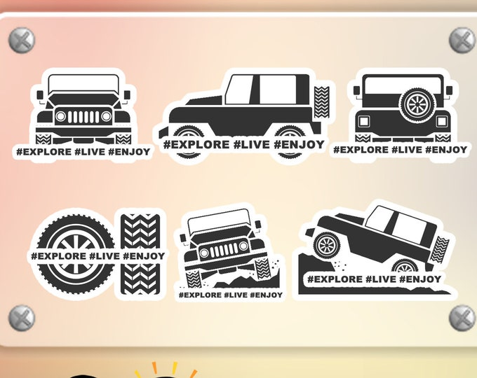 Jeep Explore Quality Vinyl Sticker or Magnet with laminate coating great for water bottles, laptops, bicycles and more!
