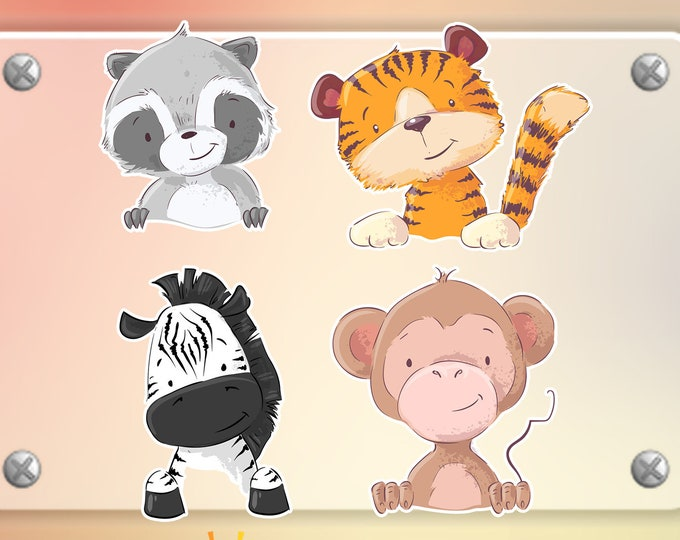 4 Cute Wild Animals stickers in standard, photo or vinyl print materials with laminate or magnet options available.  Premium.