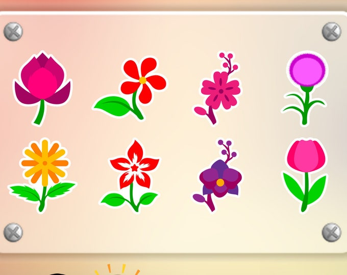 8 Flower stickers in standard, photo or vinyl print materials with laminate or magnet options available.  Premium.
