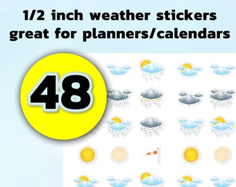 48 Fun weather Stickers - 1/2 inch great for planners and calendars, vinyl, photo or standard stickers available