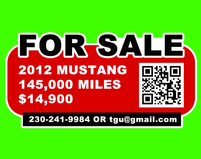 """Custom 5"""" High x 9"""" Wide Vinyl Laminated Car Window For Sale Sticker or Magnet with Custom QR Code to online ad"""