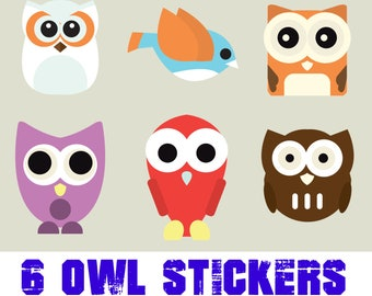 6 fun owl stickers or magnets 2 inch by 3 inch other sizes available ask us for larger sizes and pricing
