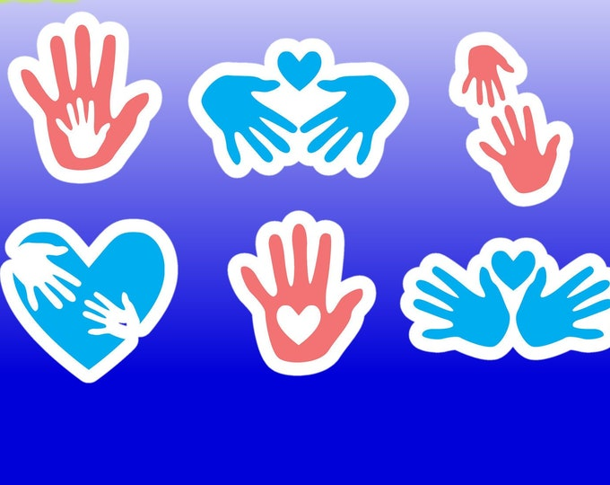 "6x Hands with Heart Vinyl Stickers, Laminate, UV Laminate or MAGNET roughly 2"" x 2"""
