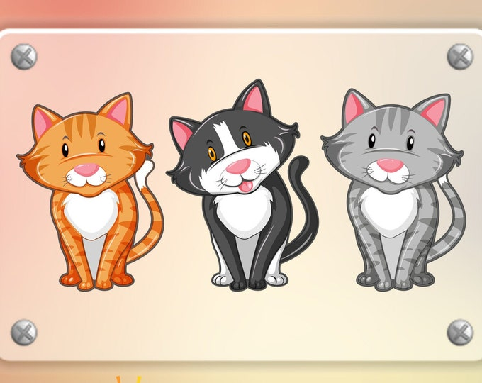 3 Cute cat stickers in standard, photo or vinyl print materials with laminate or magnet options available.  Premium.