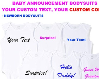 Baby Announcement Custom Personalized White Bodysuits, create your message, vinyl print in various colors