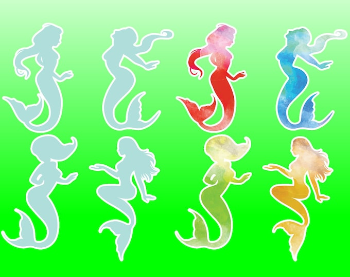 8 Mermaids glossy or vinyl with lamination, sticker pack see image for sizing