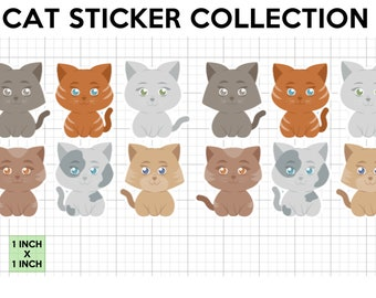 12 fun cat stickers in standard, photo or vinyl print materials with laminate or magnet options available.  Premium full color.
