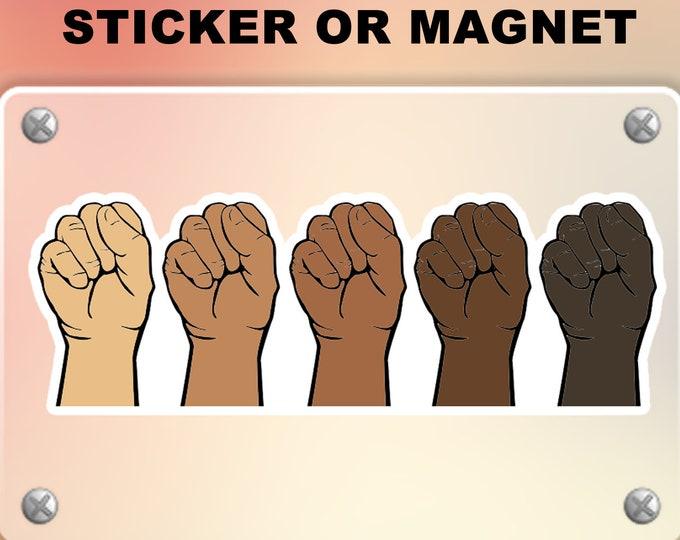 "Solidarity Black Lives Matter BLM Vinyl Sticker or Magnet, Vinyl Sticker, Laminate, UV Laminate and Magnet options up to 9"""