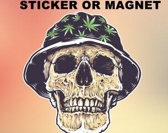 "Skull Vinyl Sticker or Magnet, Vinyl Sticker, Laminate, UV Laminate and Magnet options up to 6"""