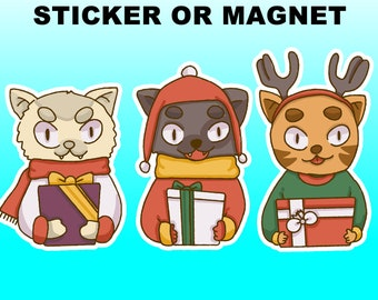 Christmas Holiday Stickers, xmas in standard, vinyl and magnet options