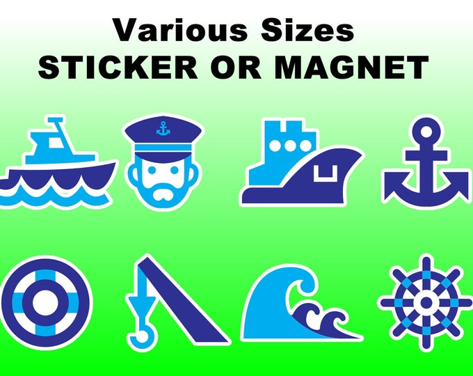 8 Boat Nautical stickers in standard, photo or vinyl print materials with laminate or magnet options available.  Premium.
