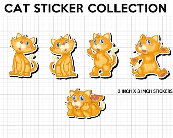 5 fun cat stickers in standard, photo or vinyl print materials with laminate or magnet options available.  Premium full color.