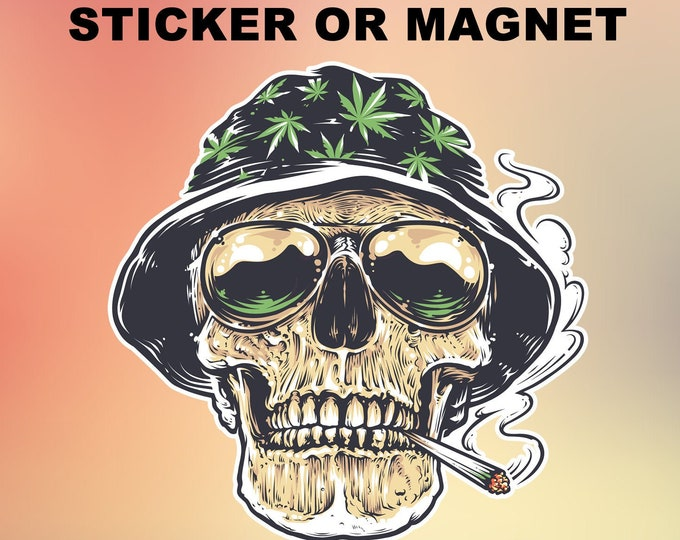 "Skull Weed Joint Vinyl Sticker or Magnet, Vinyl Sticker, Laminate, UV Laminate and Magnet options up to 6"""