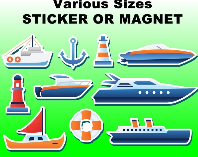 10 Boat Nautical stickers in standard, photo or vinyl print materials with laminate or magnet options available.  Premium.