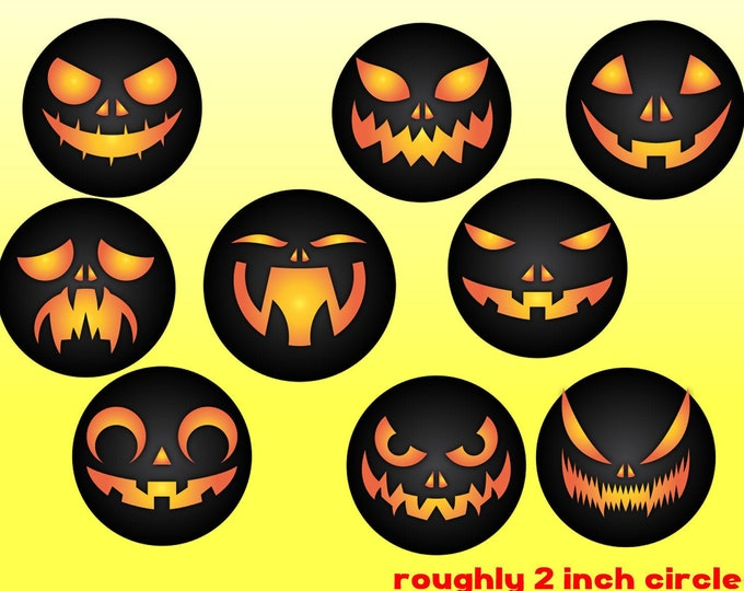 9 - 2 inch Halloween pumpkin faces fridge magnets or stickers standard, photo or vinyl print materials with laminate or magnet
