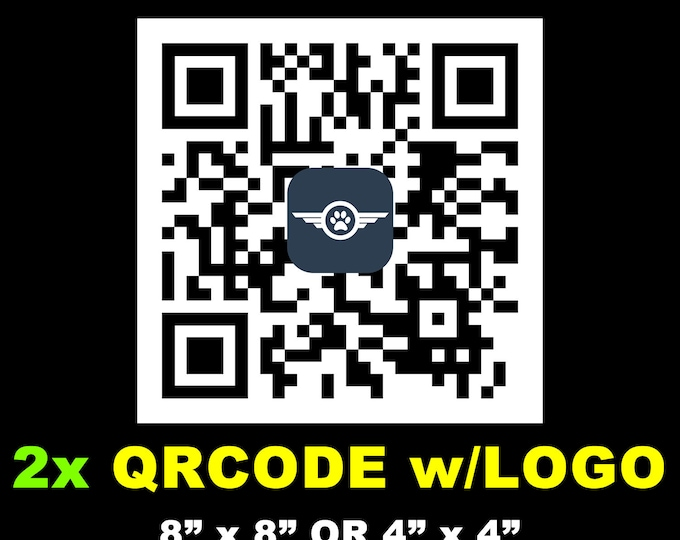 """2X QR CODE Magnet or Sticker 4""""x4"""" or 8""""x8"""" customized with logo, UV protected laminate coating or magnet options available.  Premium."""