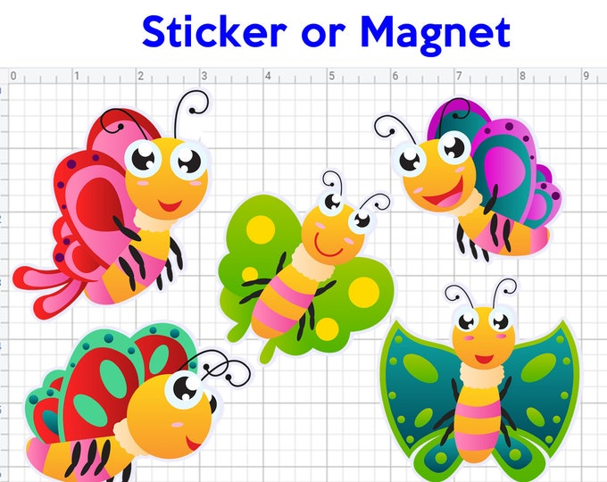 5 cute butterfly cartoon stickers or magnets 3 inch by 3 inch see image for sizing other sizes available ask us for larger sizes and pricing