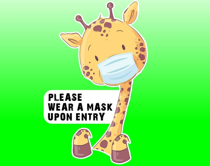 """9"""" Please Wear A Mask Fun Vinyl Sticker 9"""" High by 6"""" Wide, UV protected laminate coating or magnet options available.  Premium."""