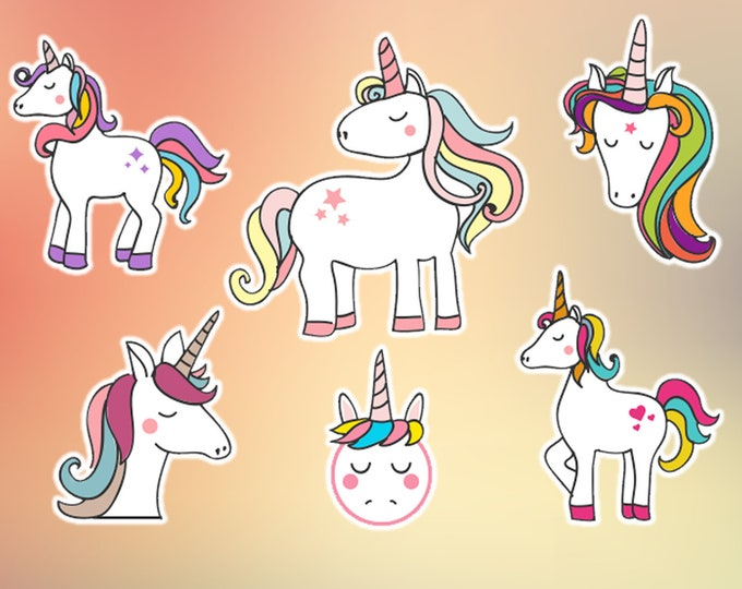 6 UNICORNS glossy or vinyl with lamination, sticker pack see image for sizing