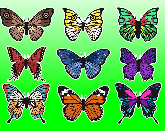 9X Butterfly Stickers or Magnets, Vinyl Sticker, Laminate, UV Laminate and Magnet options!