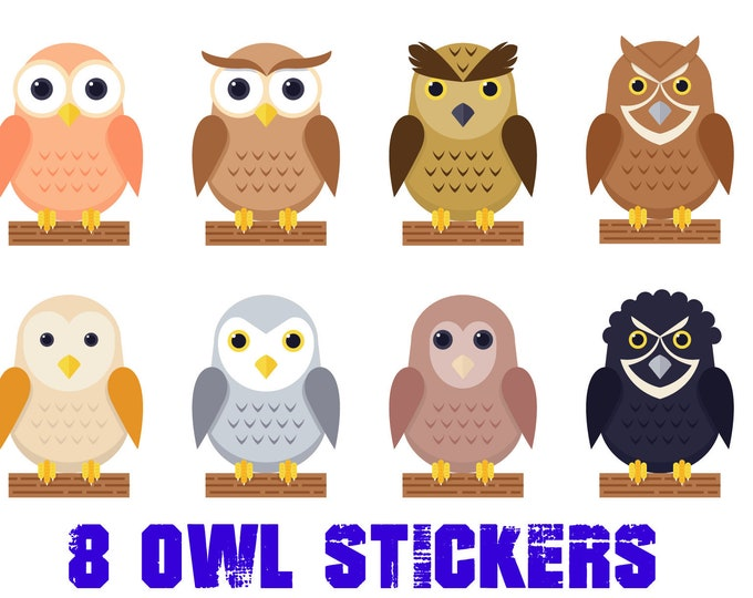 8 fun owl stickers or magnets 2 inch by 3 inch other sizes available ask us for larger sizes and pricing