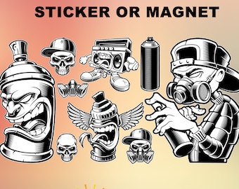 Punk Art Grafitti Vinyl Sticker or Magnet, Vinyl Sticker, Laminate, UV Laminate and Magnet options see image for sizing