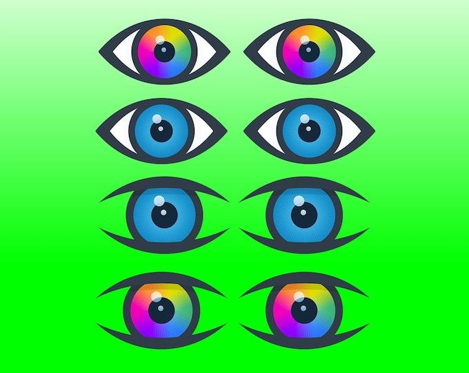 8X Eyeball Vinyl Sticker or Magnet, Vinyl Sticker, Laminate, UV Laminate and Magnet options various sizes