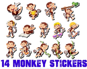 14 fun monkey stickers or magnets 1 inch by 2 inch other sizes available ask us for larger sizes and pricing