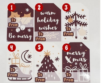 Christmas Sticker Gift Tags, High Gloss finish premium stickers shaped as a gift tag premium feel and look to your gift tags!
