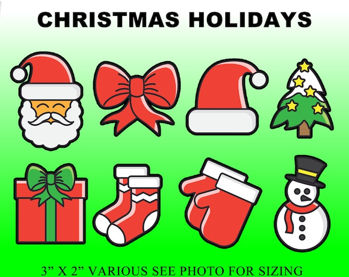 24 Xmas Sticker Collection 8 stickers x 3 of each in standard, photo or vinyl print materials with laminate or magnet options Premium.