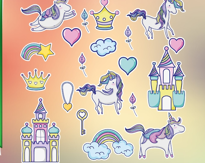 20 UNICORNS glossy or vinyl with lamination, sticker pack see image for sizing