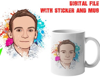 """Convert Your Face To A Cartoon Digital File + Large Mug + 4"""" Sticker, Your photo, image or text printed on a 15 oz White Mug"""
