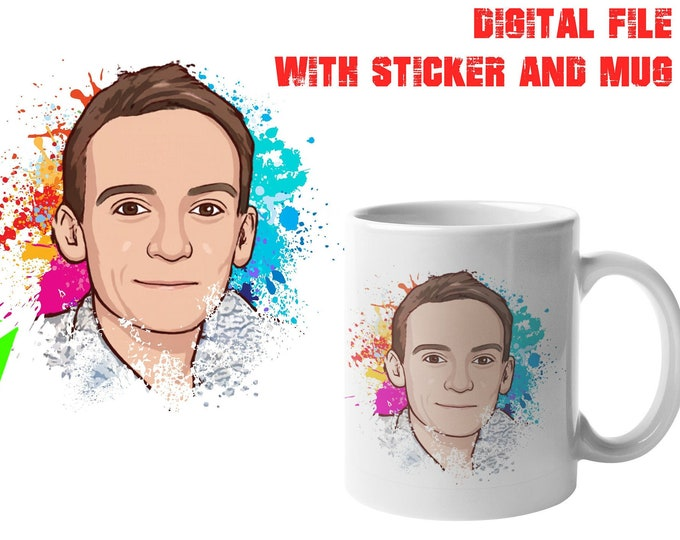 "Convert Your Face To A Cartoon Digital File + Large Mug + 4"" Sticker, Your photo, image or text printed on a 15 oz White Mug"
