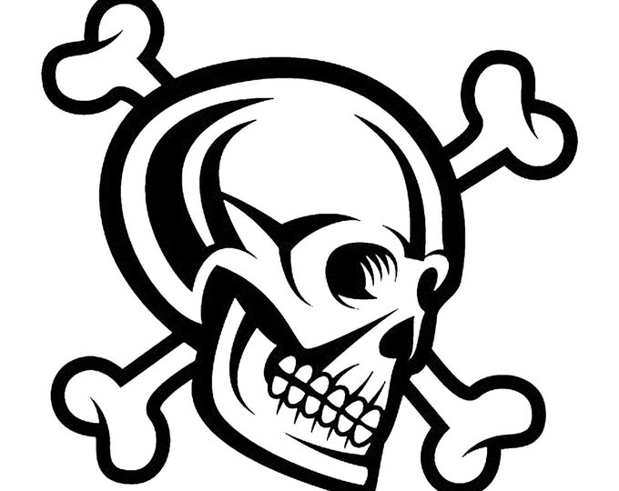 Skull Cross Bones Vinyl Decal - various sizes and colors - colours