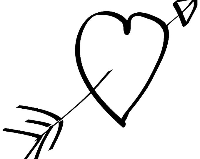 Arrow thru heart Vinyl Decal - various sizes and colors - colours