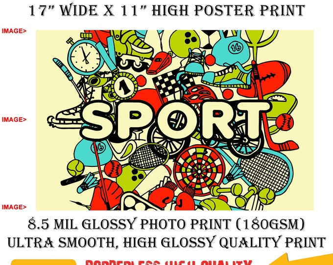 11x17 Poster Photo Print Art Sports Collage Fun Poster (Landscape Orientation) High Quality Glossy Smooth Photo Print