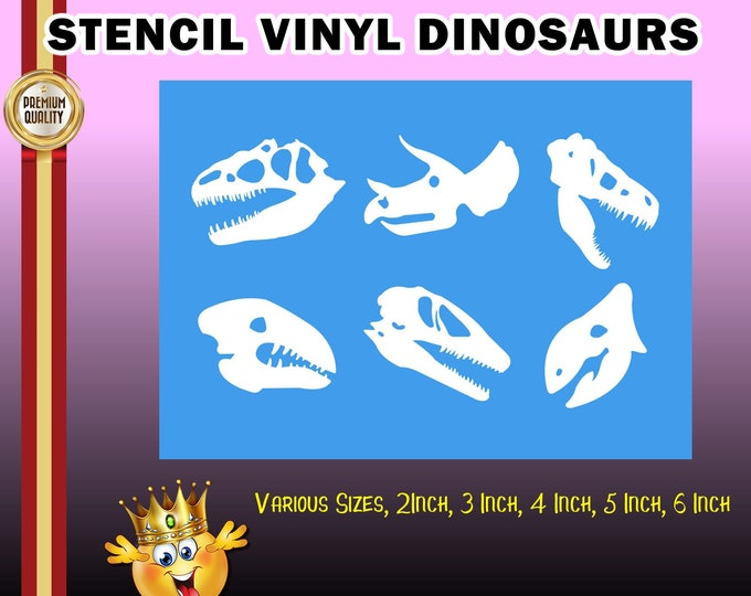 Dinosaur stencil for diy projects.  Airbrush, wood, painting etc, various sizes - single use.