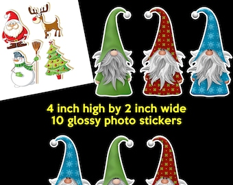 10 large christmas stickers 4 inches high by 2 inches wide - glossy vivid christmas stickers