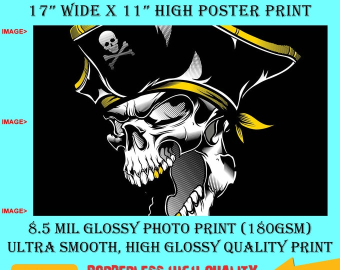 11x17 Poster Photo Print Art Pirate Skull Fun Poster (Landscape Orientation) High Quality Glossy Smooth Photo Print