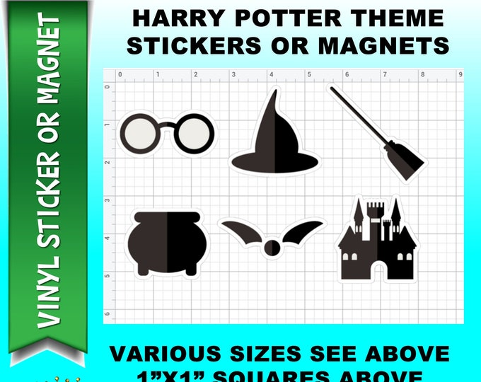 6 Harry Potter Themed Vinyl Stickers, Laminate, UV Laminate or MAGNET