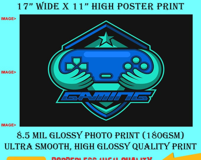 11x17 Poster Photo Print Art Gamer Fun Poster (Landscape Orientation) High Quality Glossy Smooth Photo Print