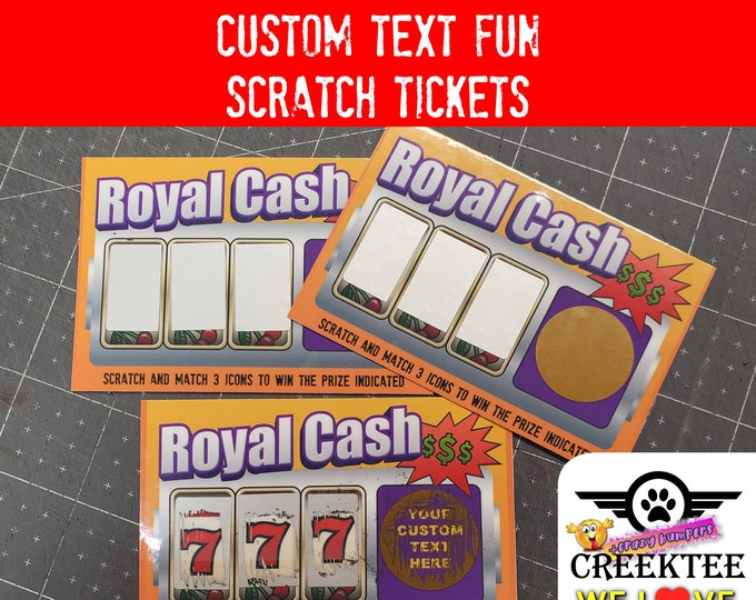 """Custom Text Fun Faux Lottery Ticket Simulation Scratch Tickets 3.75"""" x 2.5"""" Laminated, 2, 5, 10, 20 options available."""