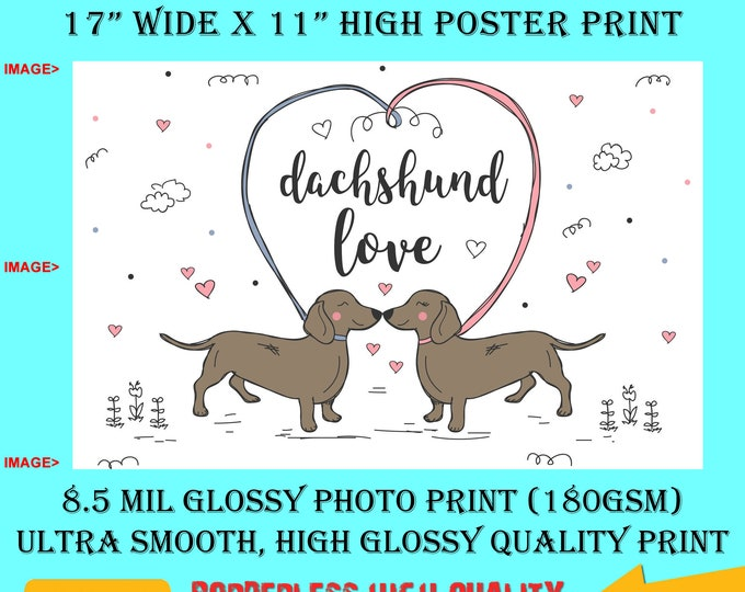 11x17 Poster Photo Print Art Daschshund Love Fun Poster (Landscape Orientation) High Quality Glossy Smooth Photo Print