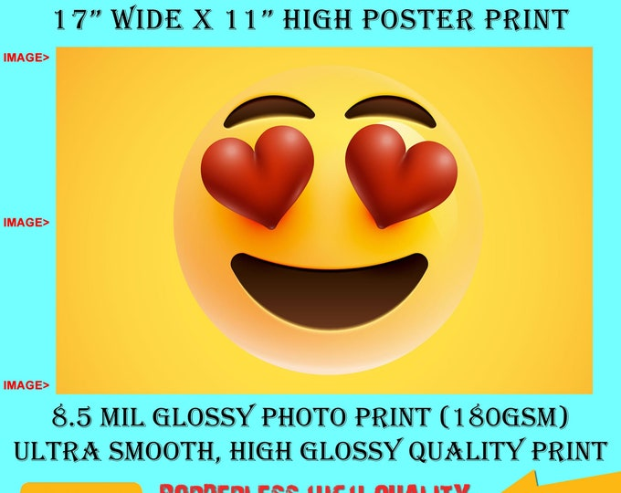 11x17 Poster Photo Print Art Love Emoji Fun Poster (Landscape Orientation) High Quality Glossy Smooth Photo Print