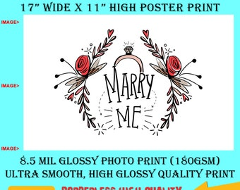 11x17 Poster Photo Print Art Marry Me Fun Poster (Landscape Orientation) High Quality Glossy Smooth Photo Print