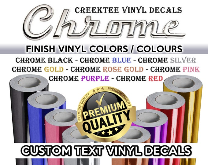 Custom Text or Image Die Cut Vinyl Decal also in CHROME various colors and sizes available