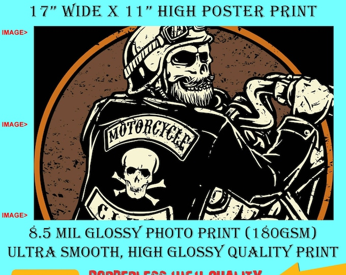 11x17 Poster Photo Print Art Viking Skull Motorcycle Club Poster (Landscape Orientation) High Quality Glossy Smooth Photo Print